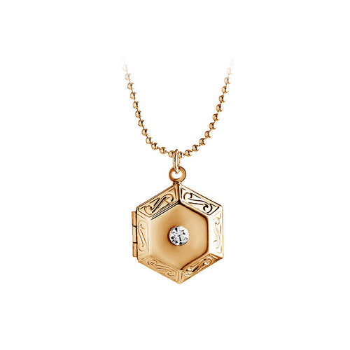 Vintage Print Photo Box Pendant with Necklace