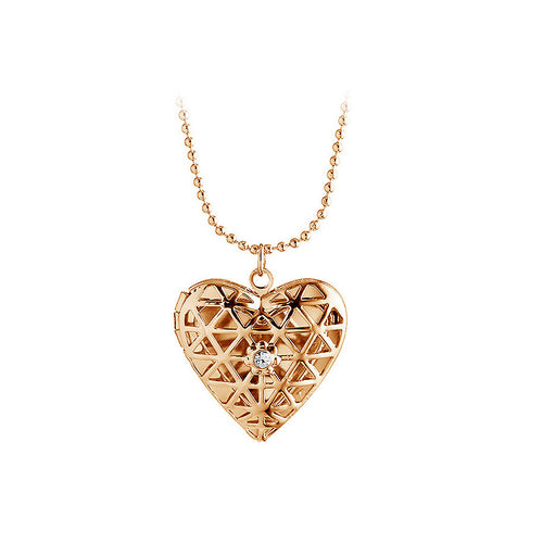 Fashion Hollow Heart-shaped Photo Box Pendant with Necklace
