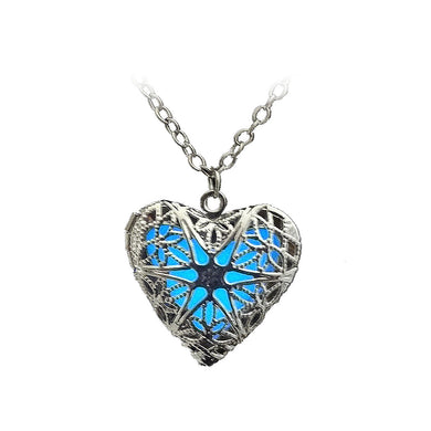 Fashion Heart-shaped Luminous Photo Box Pendant with Necklace