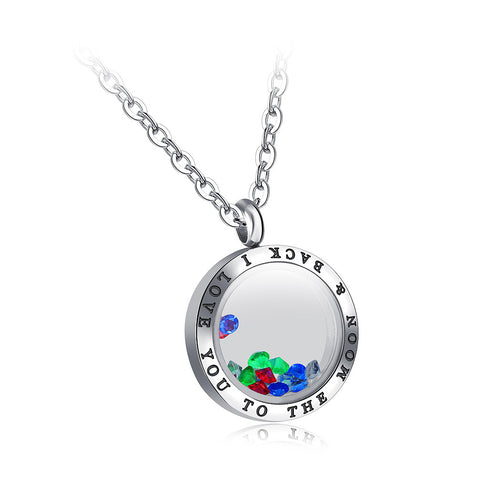 Simple Photo Frame Pendant with Colored Austrian Element Crystal and Necklace