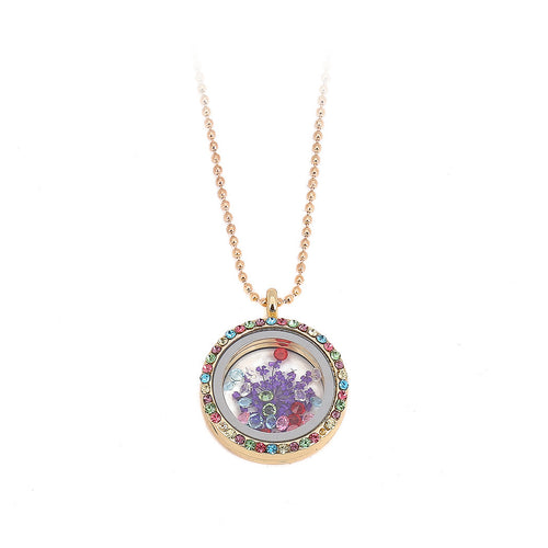 Round Flower Frame Pendant with Necklace