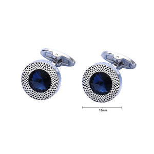 Simple Round Cufflinks with Blue Austrian Element Crystal