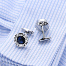 Load image into Gallery viewer, Simple Round Cufflinks with Blue Austrian Element Crystal
