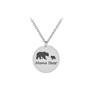 Simple Mother and Child Bear Round Pendant with Necklace