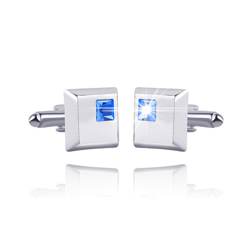 High-end Father Square Cufflinks with Blue Austrian Element Crystal