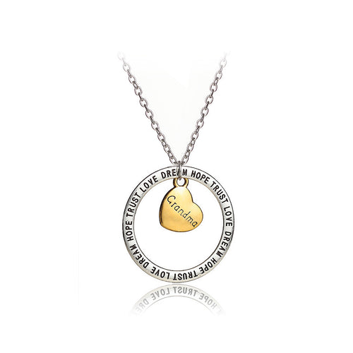 Simple Hollow Round Heart Grandma Pendant with Necklace