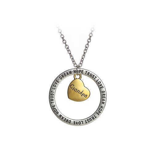 Simple Hollow Circular Grandpa Heart Pendant with Necklace