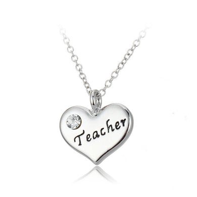 Simple Teacher Heart Pendant with Austrian Element Crystal and Necklace
