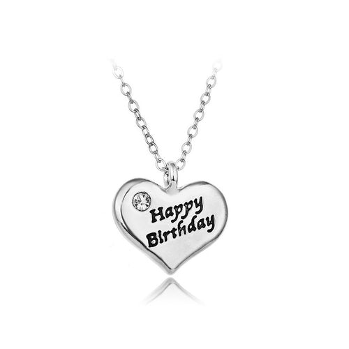 Simple Happy Birthday Heart Pendants with Austrian Element Crystal and Necklace