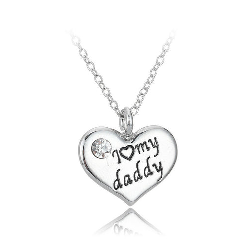 Simple I Love My Dad Heart Pendant with Necklace