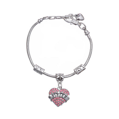 Fashion Sister Love Bracelet with Pink Austrian Element Crystal