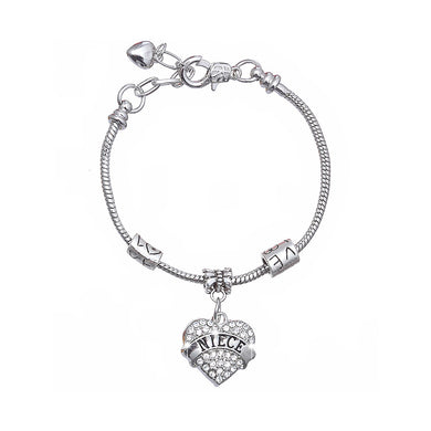 Fashion Niece Love Heart Bracelet with White Austrian Element Crystal