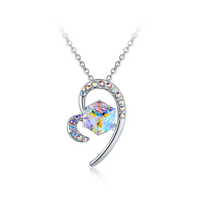 Fashion Valentine Heart Pendant with Austrian Element Crystal and Necklace