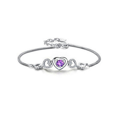 Sweet Valentine Heart Bracelet with Purple Austrian Element Crystal