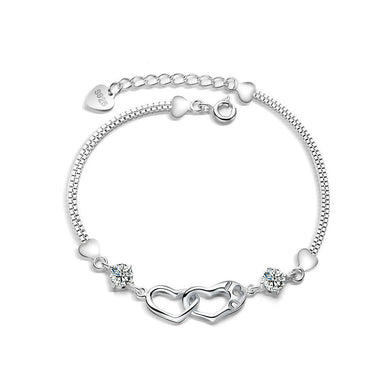 925 Sterling Silver Valentine Heart Bracelet with White Austrian Element Crystal