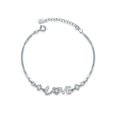 925 Sterling Silver Love Bracelet with White Austrian Element Crystal