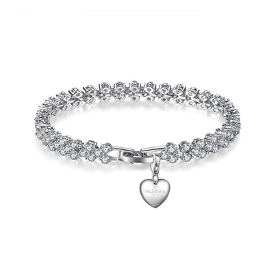 Bright Valentine's Heart Bracelet with White Austrian Element Crystal