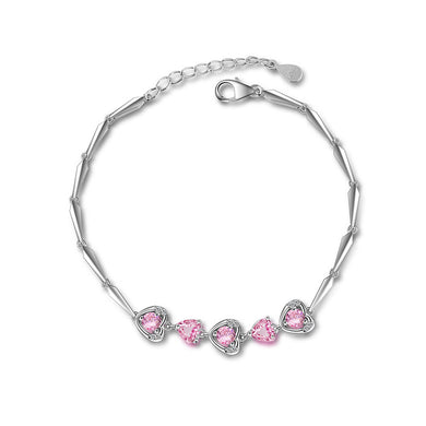 925 Sterling Silver Valentine's Heart Bracelet with Pink Austrian Element Crystal