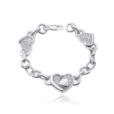 Valentine's Heart Bracelet with White Austrian Element Crystal