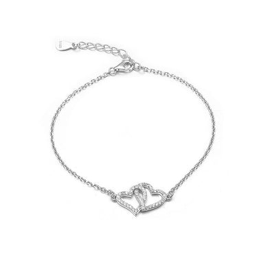 925 Sterling Silver Valentine's Day Double Heart Bracelet with Austrian Element Crystal