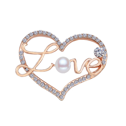 Fashion Valentine's Gold Heart Brooch with Austrian Element Crystal and Fashion Pearl