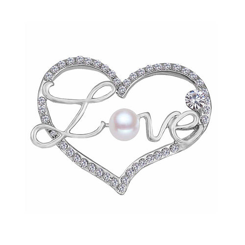 Fashion Valentine's Silver Heart Brooch with Austrian Element Crystal and Fashion Pearl