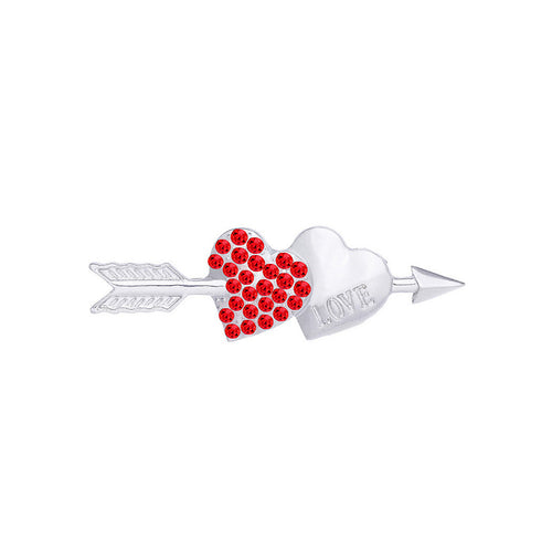 Valentine Double Heart Brooch with Red Austrian Element Crystal