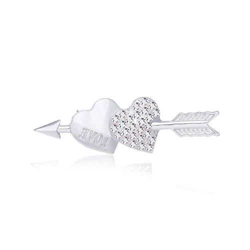 Valentine Double Heart Brooch with White Austrian Element Crystal