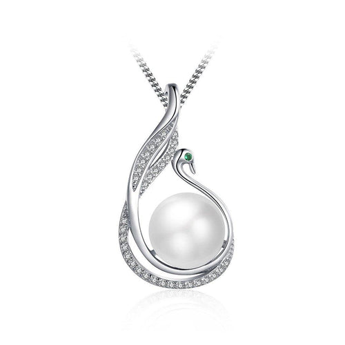 925 Sterling Silver  Mother's Day Swan Pendant with Fashion Pearl and Necklace