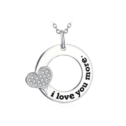 925 Sterling Silver  Mother's Day Round Pendant with White Cubic Zircons and Necklace