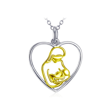 925 Sterling Silver Mother's Day Heart Pendant with Necklace