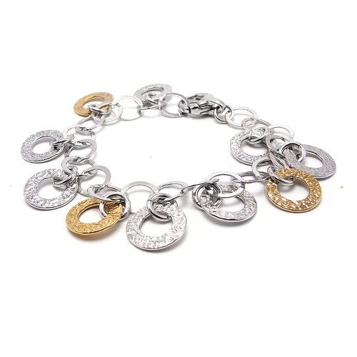 Italian Rose Yellow White Tri-color, 925 Sterling Silver Bracelet