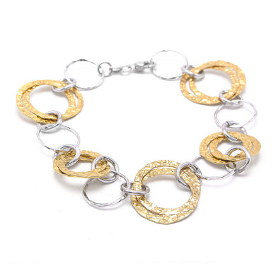 Italian Yellow White 925 Sterling Silver Bracelet