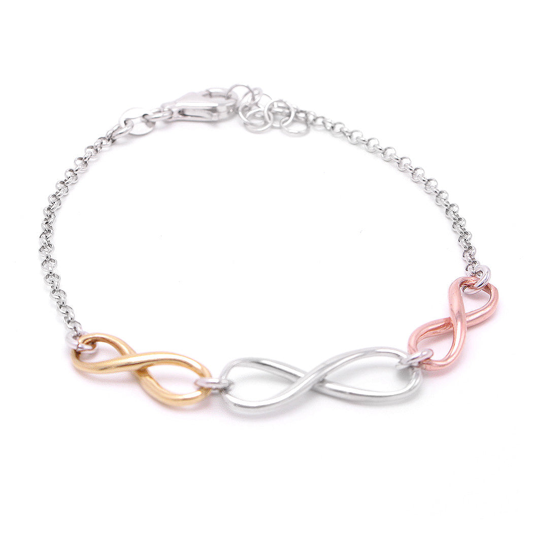 Italian Rose Yellow White Tri-color 925 Sterling Silver Bracelet