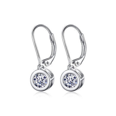 925 Sterling Silver Mother's Day Earrings with White Cubic Zircons