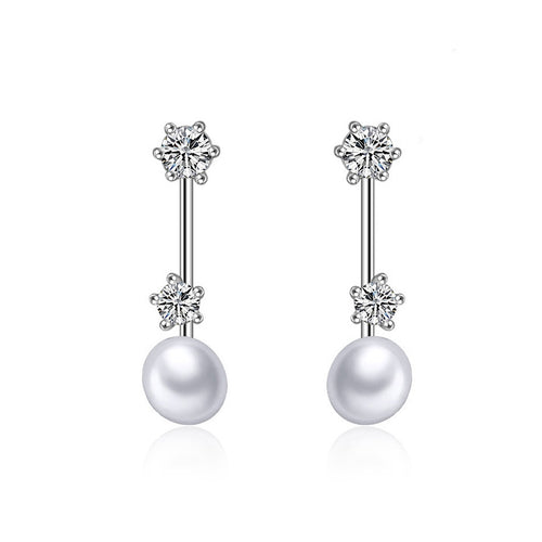 925 Sterling Silver Mother's Day Fashion Pearl Earrings