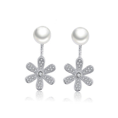 925 Sterling Silver Mother's Day Flower Fashion Pearl Earrings