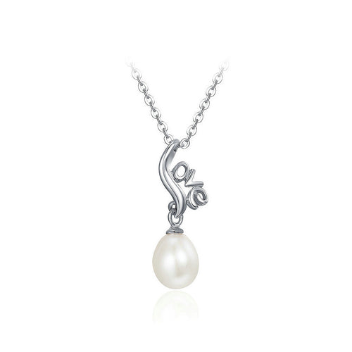 925 Sterling Silver Mother's Day LOVE Freshwater Pearl Pendant with Necklace