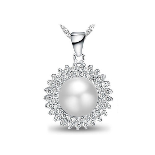 925 Sterling Silver Mother's Day Freshwater Pearl Pendant with Necklace