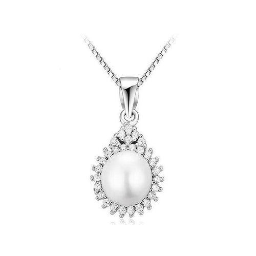 925 Sterling Silver Drop Pendant with Freshwater Pearl and Necklace