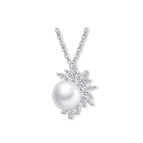 Simple Freshwater Pearl Pendant with Austrian Element Crystal and Necklace