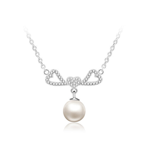 925 Sterling Silver Heart Necklace with Freshwater Pearl and Austrian Element Crystal