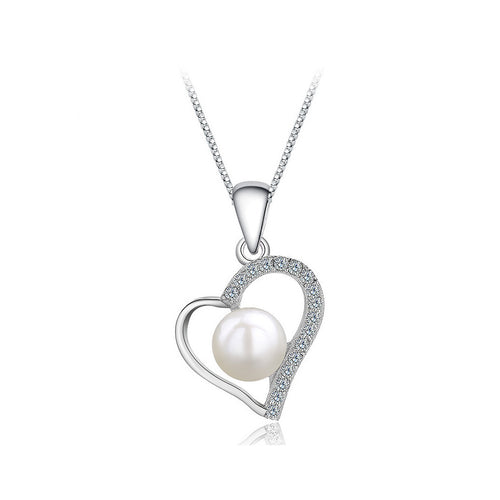 925 Sterling Silver Heart Pendant with Freshwater Pearl and Necklace