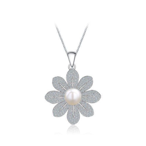 925 Sterling Silver Flower Pendant with Freshwater Pearl and Necklace