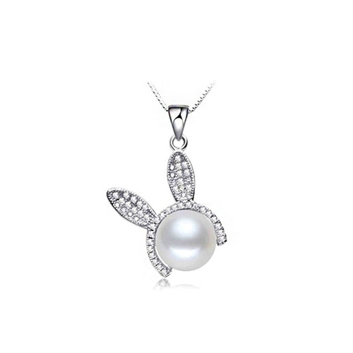925 Sterling Silver Rabbit Pendant with Freshwater Pearl and Necklace