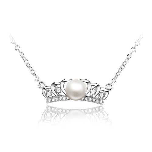 925 Sterling Silver Crown Necklace with Freshwater Pearl