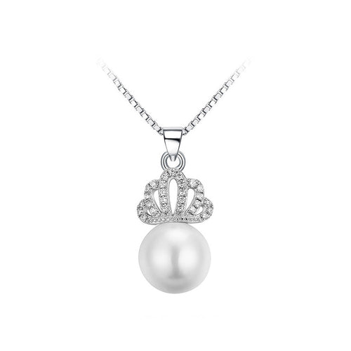 925 Sterling Silver Crown Pendant with Fashion Pearl and Necklace