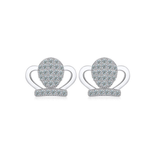 925 Sterling Silver Crown Stud Earrings with Cubic Zircon
