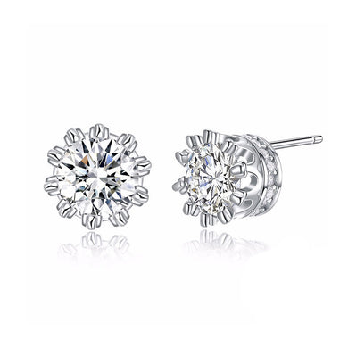 925 Sterling Silver Crown Stud Earrings with Austrian Element Crystal