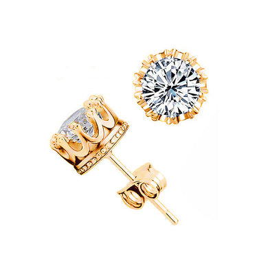 Fashion Crown Stud Earrings with White Cubic Zircon